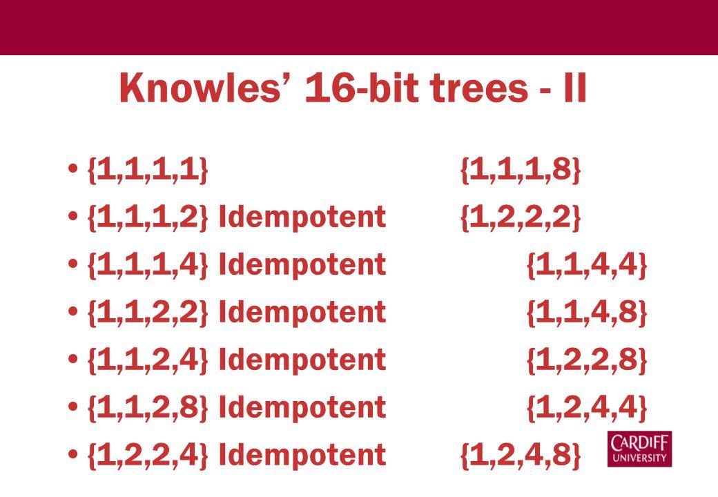 Knowles' 16-bit trees - II {1,1,1,1} {1,1,1,8} {1,1,1,2} Idempotent{1,2,2,2} {1,1,1,4} Idempotent {1,1,4,4} {1,1,2,2} Idempotent {1,1,4,8} {1,1,2,4} Idempotent {1,2,2,8} {1,1,2,8} Idempotent {1,2,4,4} {1,2,2,4} Idempotent{1,2,4,8}