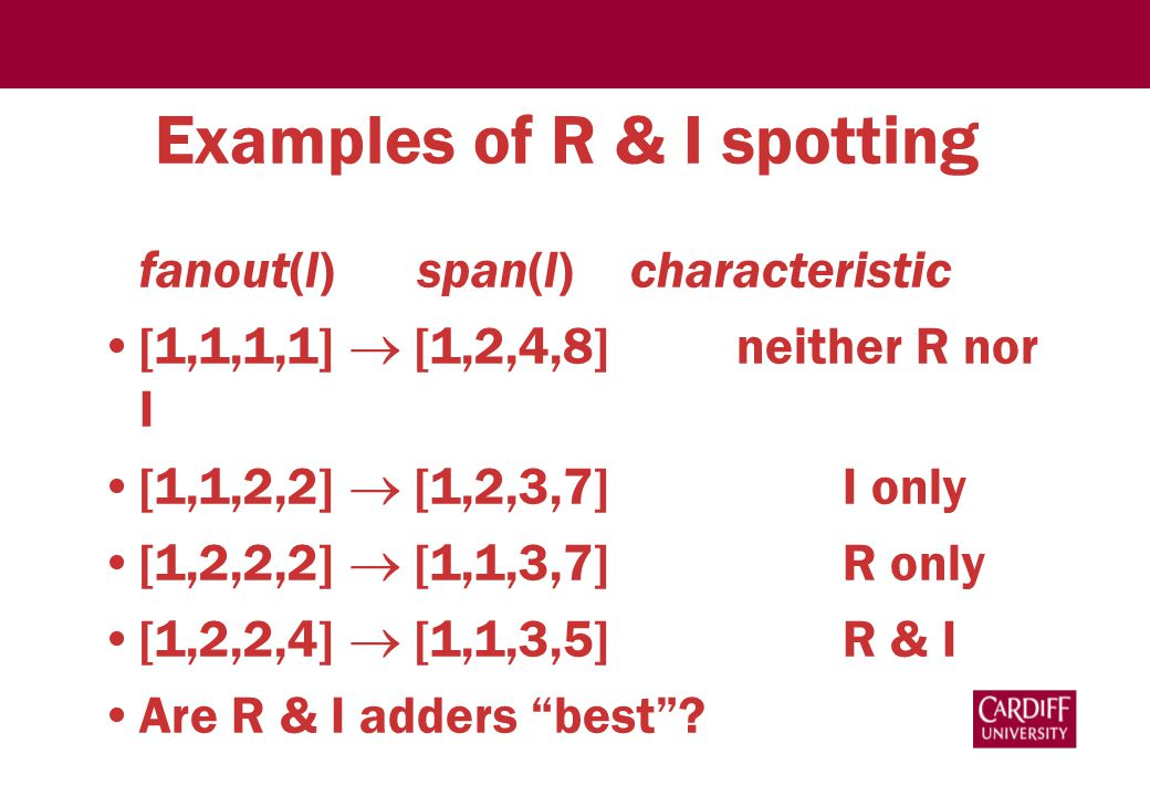 Examples of R & I spotting fanout(l)span(l) characteristic [1,1,1,1]  [1,2,4,8] neither R nor I [1,1,2,2]  [1,2,3,7] I only [1,2,2,2]  [1,1,3,7] R only [1,2,2,4]  [1,1,3,5] R & I Are R & I adders best