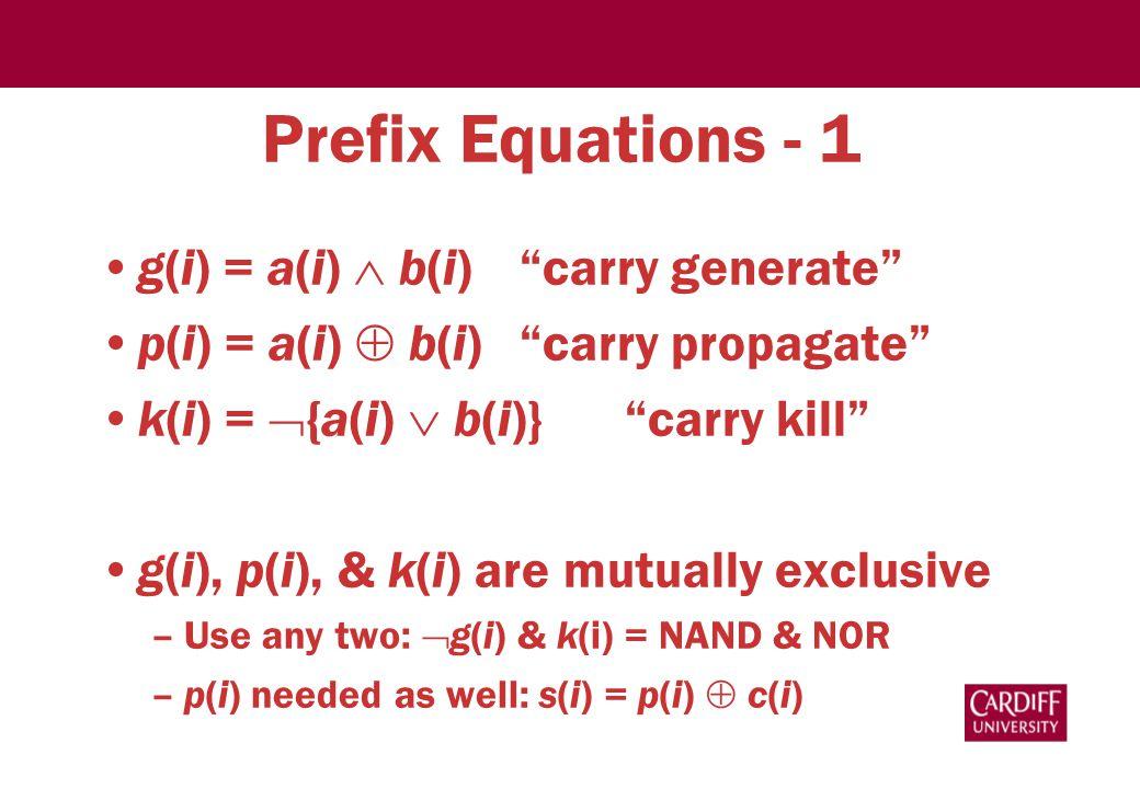 """Prefix Equations - 1 g(i) = a(i)  b(i)""""carry generate"""" p(i) = a(i)  b(i)""""carry propagate"""" k(i) =  {a(i)  b(i)}""""carry kill"""" g(i), p(i), & k(i) are"""