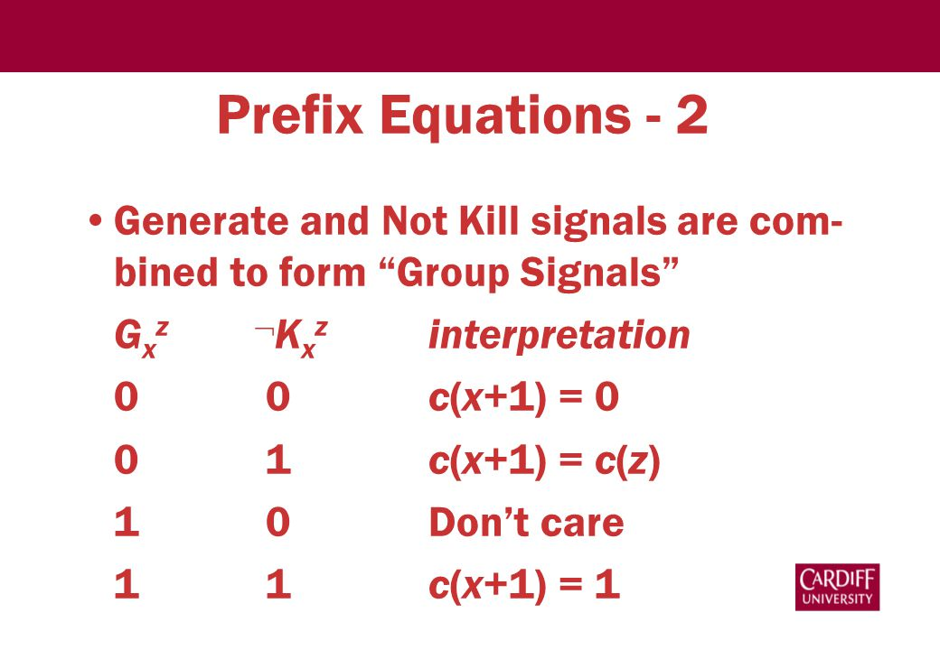 Prefix Equations - 2 Generate and Not Kill signals are com- bined to form Group Signals G x z  K x z interpretation 0 0c(x+1) = 0 0 1c(x+1) = c(z) 1 0Don't care 1 1c(x+1) = 1