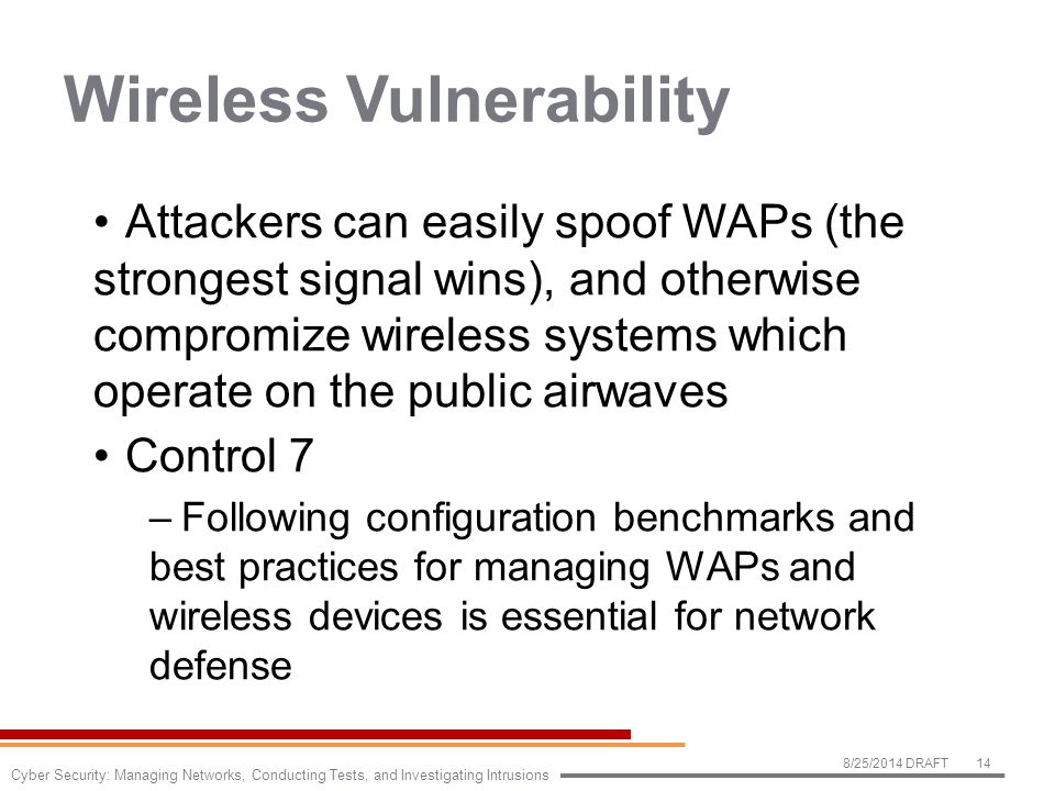 Wireless Vulnerability Attackers can easily spoof WAPs (the strongest signal wins), and otherwise compromize wireless systems which operate on the public airwaves Control 7 –Following configuration benchmarks and best practices for managing WAPs and wireless devices is essential for network defense 8/25/2014 DRAFT14 Cyber Security: Managing Networks, Conducting Tests, and Investigating Intrusions