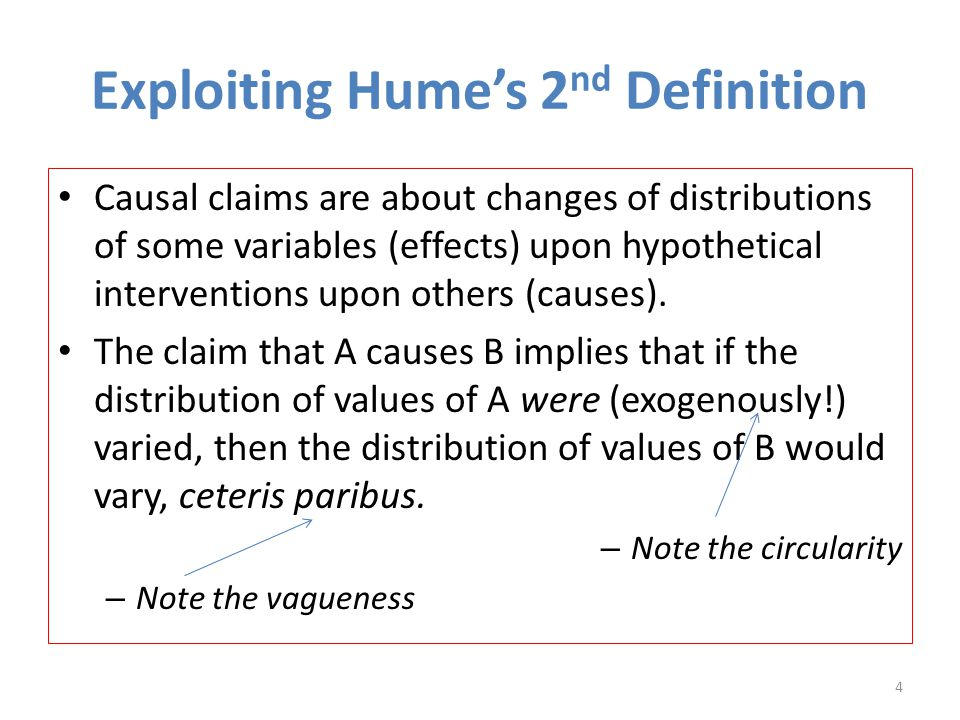 Exploiting Hume's 2 nd Definition Causal claims are about changes of distributions of some variables (effects) upon hypothetical interventions upon others (causes).