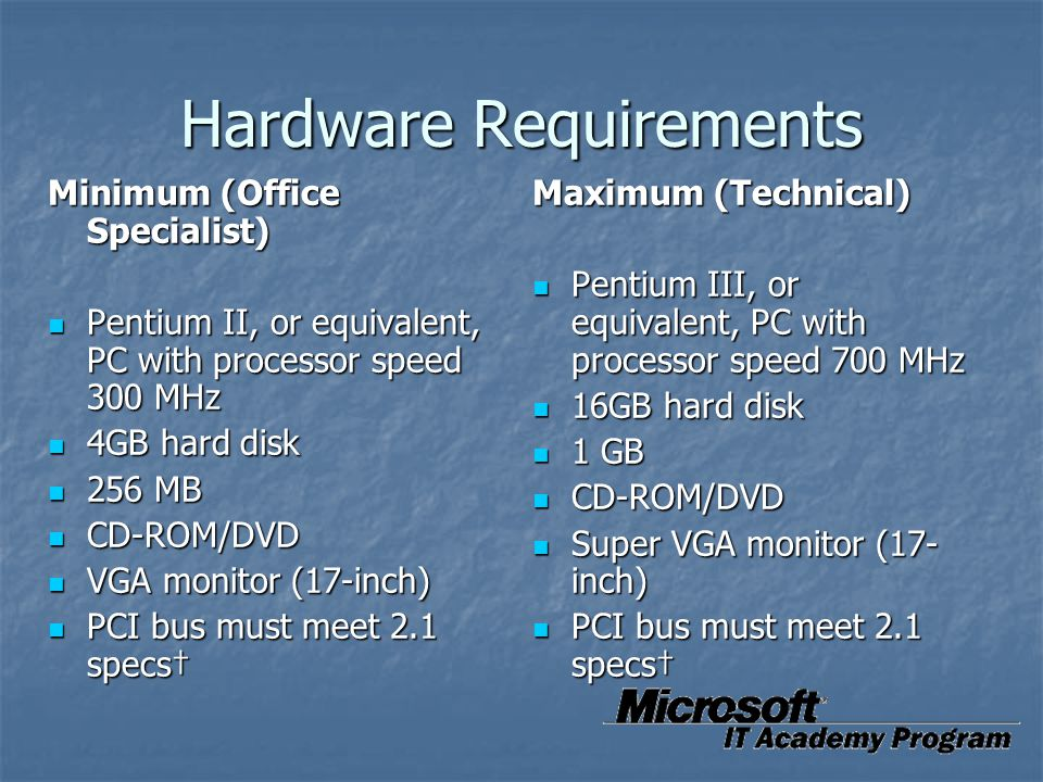 Hardware Requirements Minimum (Office Specialist) Pentium II, or equivalent, PC with processor speed 300 MHz Pentium II, or equivalent, PC with proces