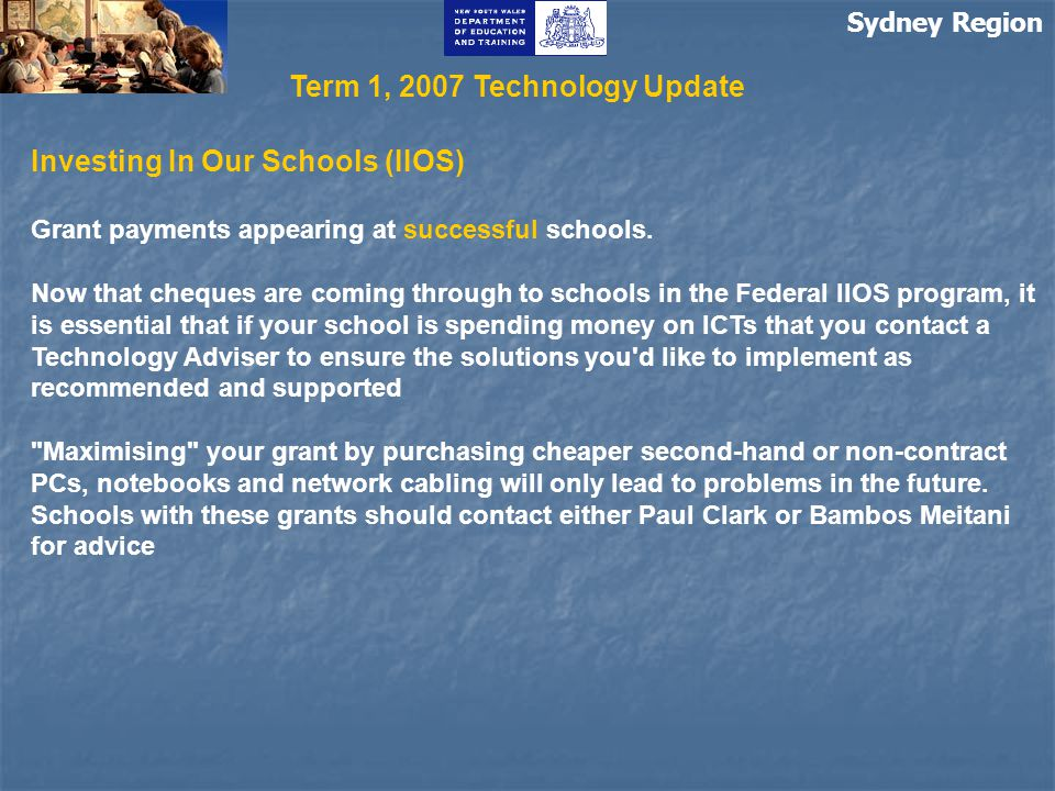 Sydney Region Investing In Our Schools (IIOS) Grant payments appearing at successful schools.