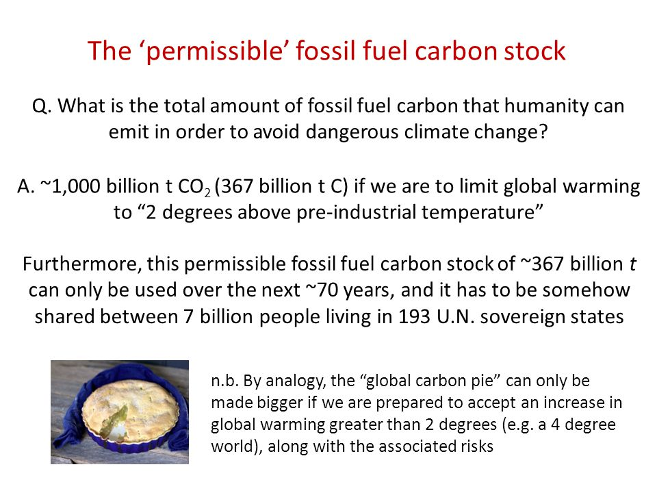 Q. What is the total amount of fossil fuel carbon that humanity can emit in order to avoid dangerous climate change? A. ~1,000 billion t CO 2 (367 bil