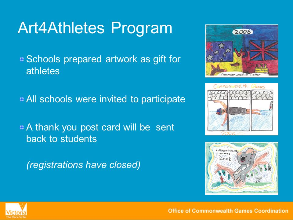 Art4Athletes Program Schools prepared artwork as gift for athletes All schools were invited to participate A thank you post card will be sent back to students (registrations have closed)