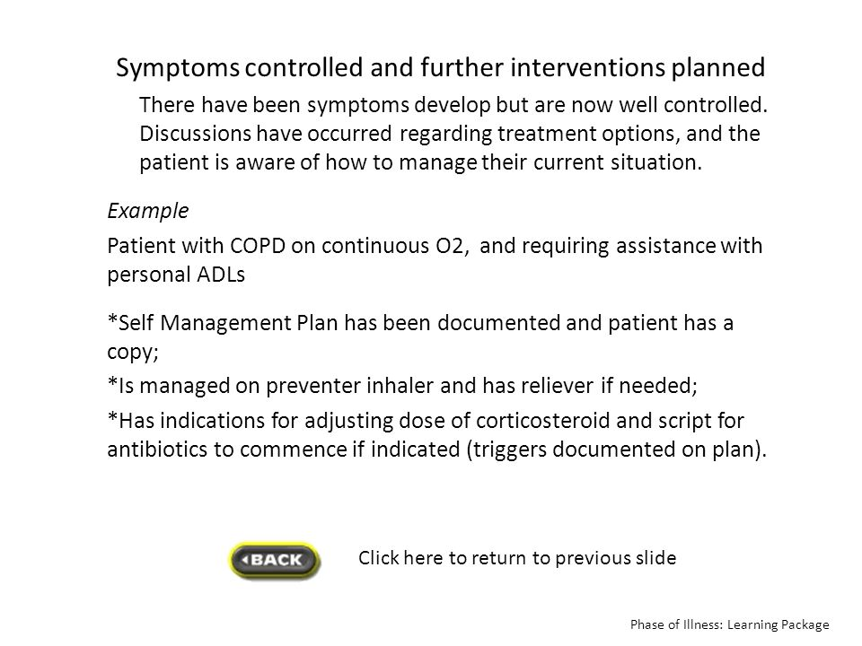 Click here to return to previous slide Symptoms controlled and further interventions planned There have been symptoms develop but are now well control