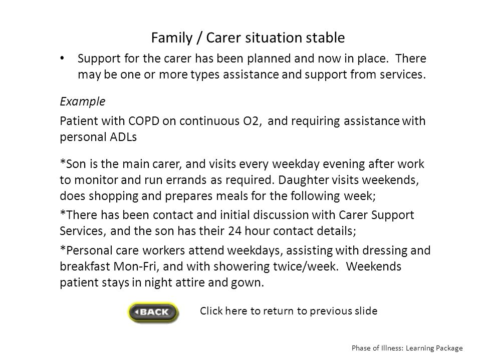 Click here to return to previous slide Family / Carer situation stable Support for the carer has been planned and now in place. There may be one or mo
