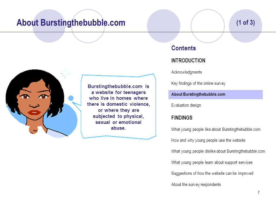 28 How and Why Young People Use Burstingthebubble.com 52% of survey respondents indicated that they would use information on the website in relation to abuse happening to them.
