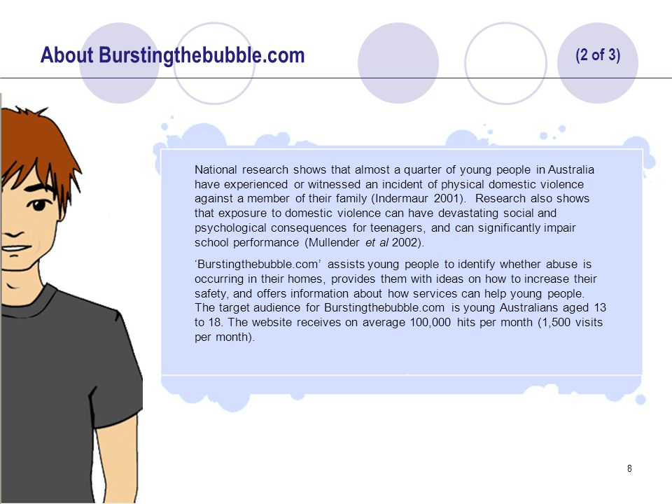 9 About Burstingthebubble.com To engage and communicate effectively with young people Burstingthebubble.com takes an innovative and interactive approach to health and safety promotion.