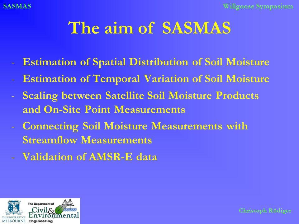 SASMASWillgoose Symposium Christoph Rüdiger The aim of SASMAS -Estimation of Spatial Distribution of Soil Moisture -Estimation of Temporal Variation o