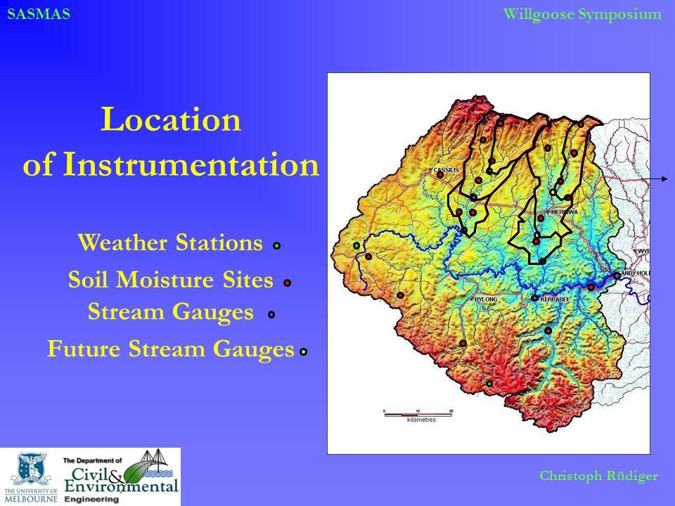 SASMASWillgoose Symposium Christoph Rüdiger Location of Instrumentation Soil Moisture Sites Stream Gauges Weather Stations Future Stream Gauges