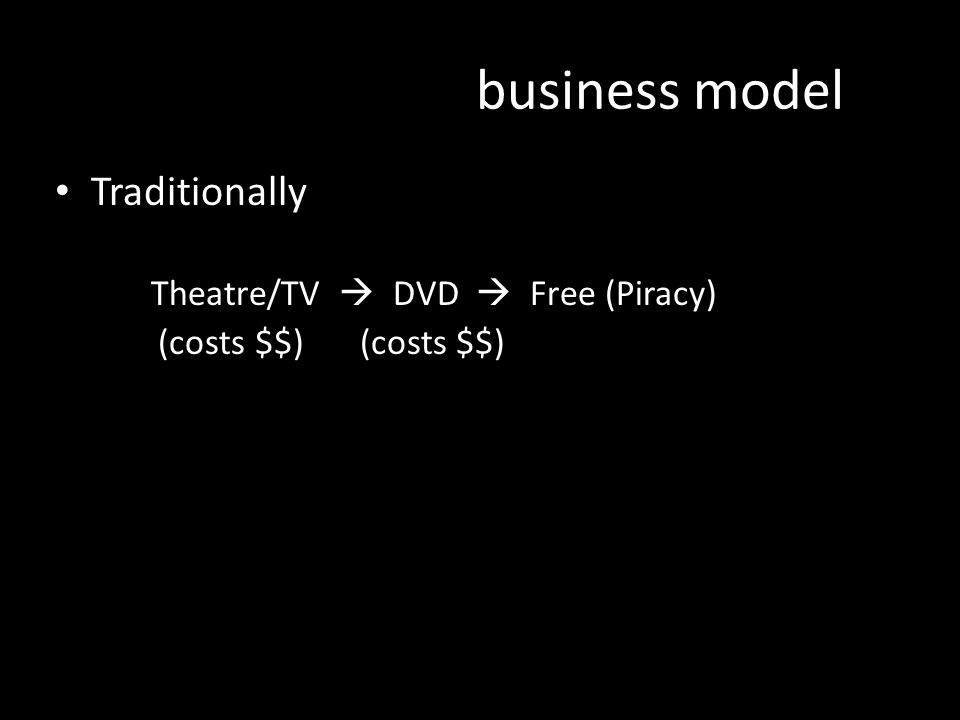 business model Traditionally Theatre/TV  DVD  Free (Piracy) (costs $$) (costs $$) AUSTRALIA