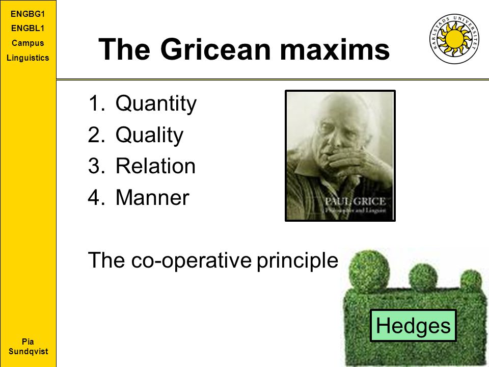 Pia Sundqvist ENGBG1 ENGBL1 Campus Linguistics The Gricean maxims 1.Quantity 2.Quality 3.Relation 4.Manner The co-operative principle Hedges
