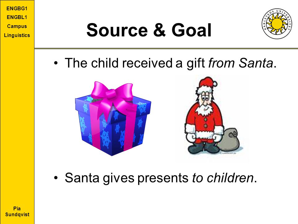 Pia Sundqvist ENGBG1 ENGBL1 Campus Linguistics Source & Goal The child received a gift from Santa.