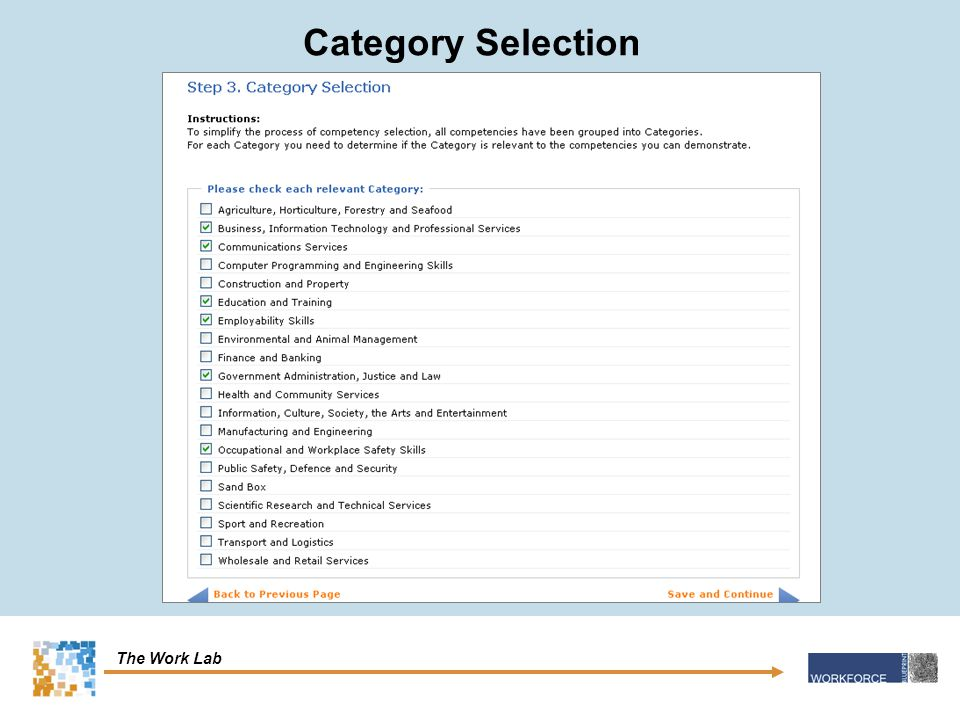 The Work Lab Category Selection