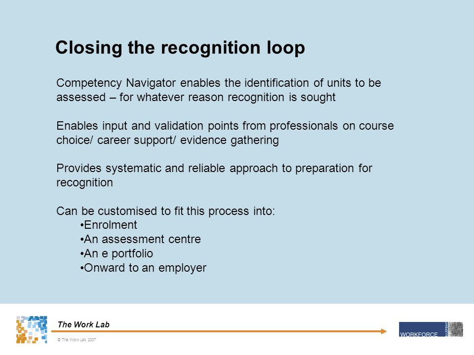 The Work Lab Competency Navigator enables the identification of units to be assessed – for whatever reason recognition is sought Enables input and validation points from professionals on course choice/ career support/ evidence gathering Provides systematic and reliable approach to preparation for recognition Can be customised to fit this process into: Enrolment An assessment centre An e portfolio Onward to an employer Closing the recognition loop © The Work Lab 2007