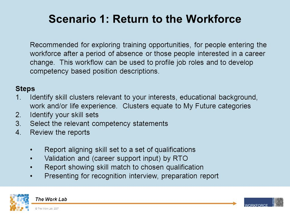 The Work Lab Scenario 1: Return to the Workforce © The Work Lab 2007 Recommended for exploring training opportunities, for people entering the workforce after a period of absence or those people interested in a career change.