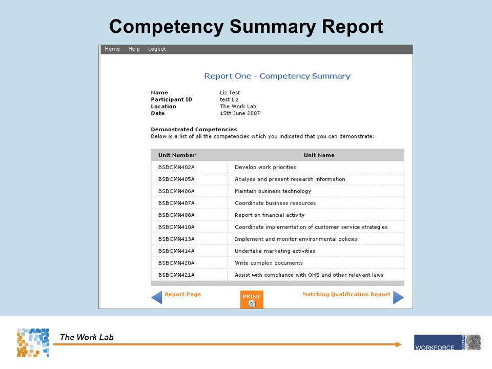 The Work Lab Competency Summary Report