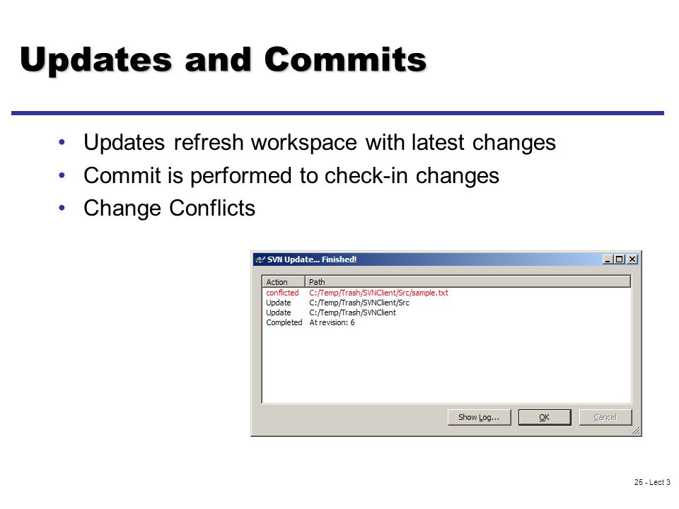 25 - Lect 3 Updates and Commits Updates refresh workspace with latest changes Commit is performed to check-in changes Change Conflicts