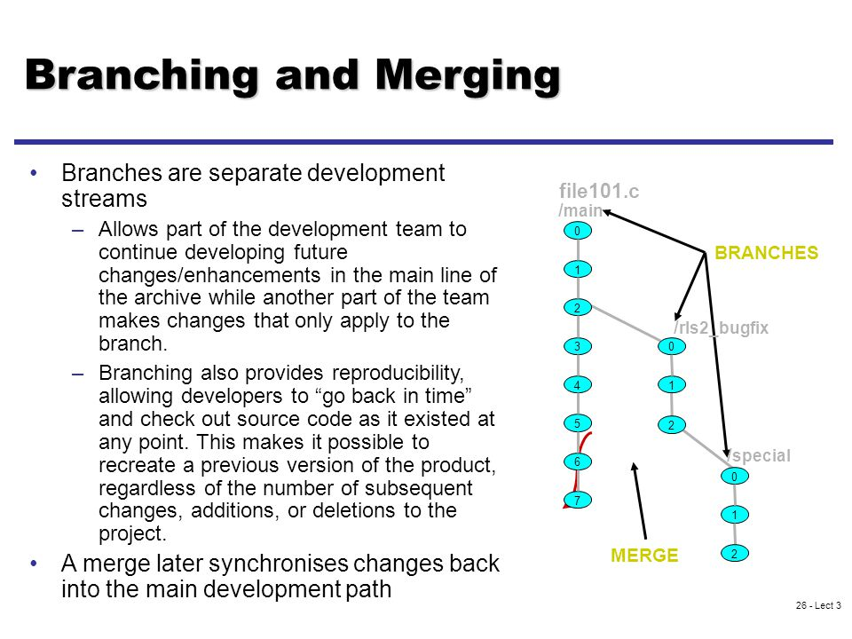 26 - Lect 3 Branching and Merging Branches are separate development streams –Allows part of the development team to continue developing future changes/enhancements in the main line of the archive while another part of the team makes changes that only apply to the branch.