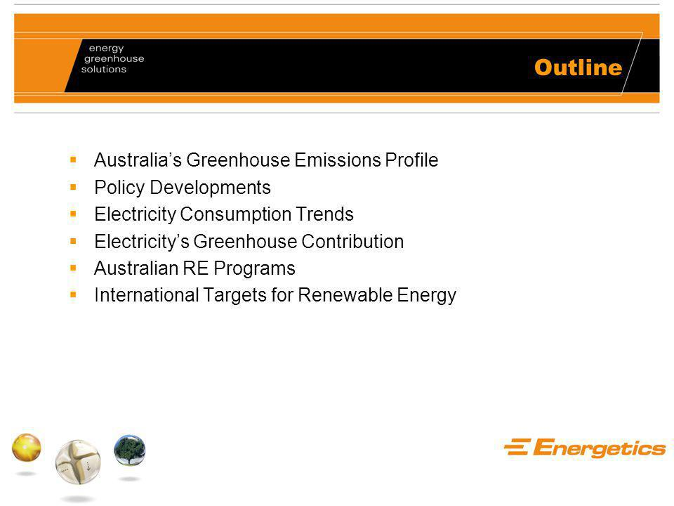 Outline  Australia's Greenhouse Emissions Profile  Policy Developments  Electricity Consumption Trends  Electricity's Greenhouse Contribution  Australian RE Programs  International Targets for Renewable Energy