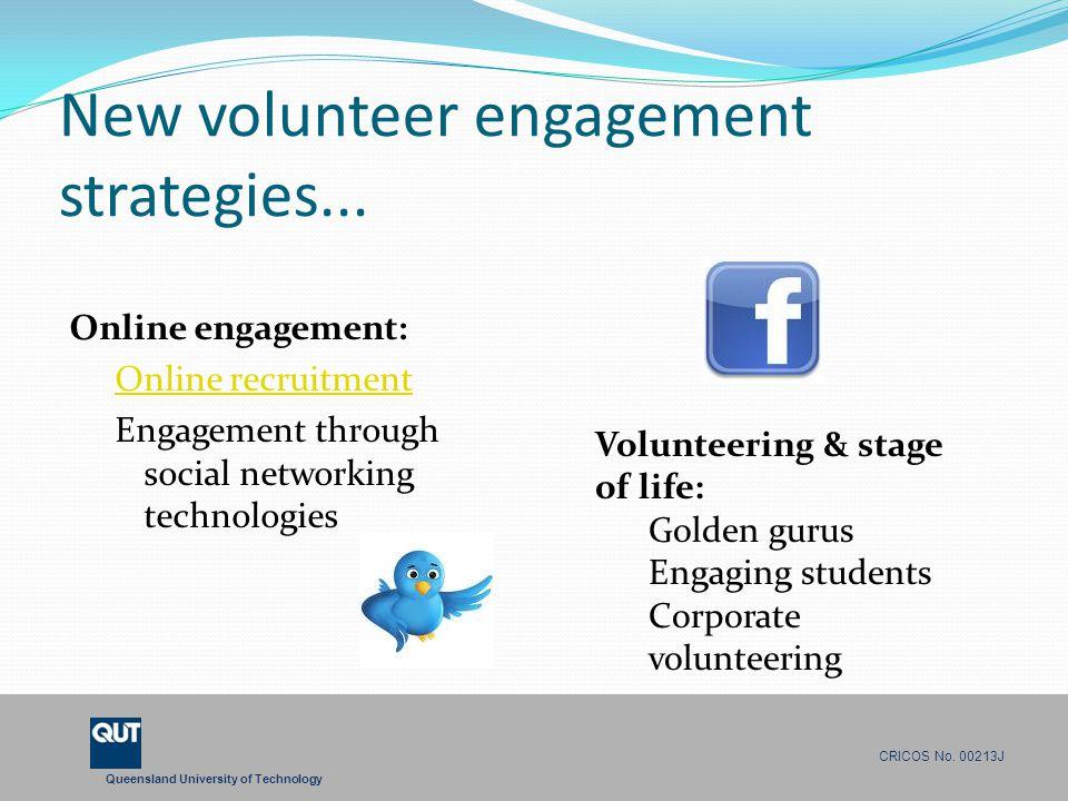 Queensland University of Technology CRICOS No. 00213J New volunteer engagement strategies... Online engagement: Online recruitment Engagement through