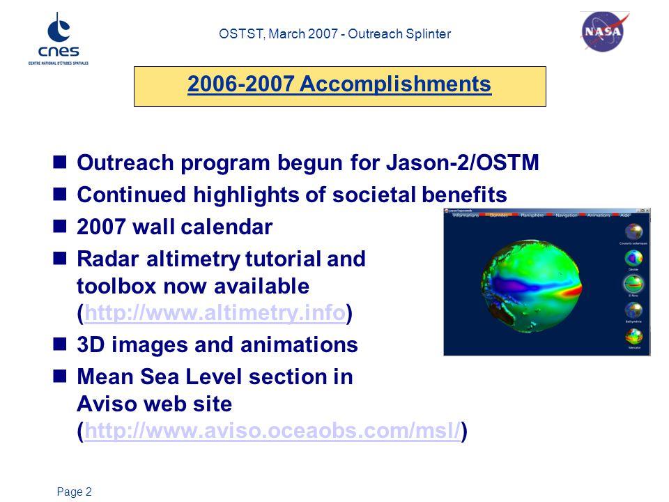 OSTST, March 2007 - Outreach Splinter Page 2 Outreach program begun for Jason-2/OSTM Continued highlights of societal benefits 2007 wall calendar Rada