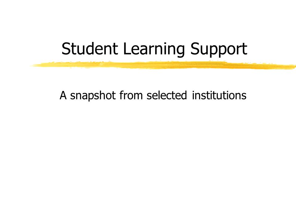 Student Learning Support A snapshot from selected institutions