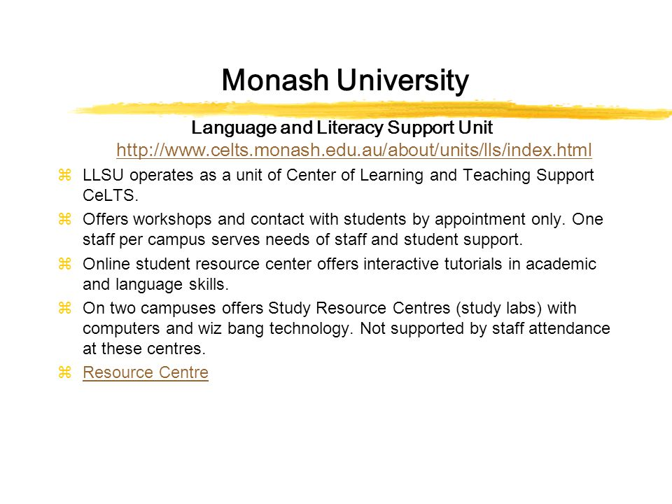 Monash University Language and Literacy Support Unit http://www.celts.monash.edu.au/about/units/lls/index.html http://www.celts.monash.edu.au/about/units/lls/index.html zLLSU operates as a unit of Center of Learning and Teaching Support CeLTS.