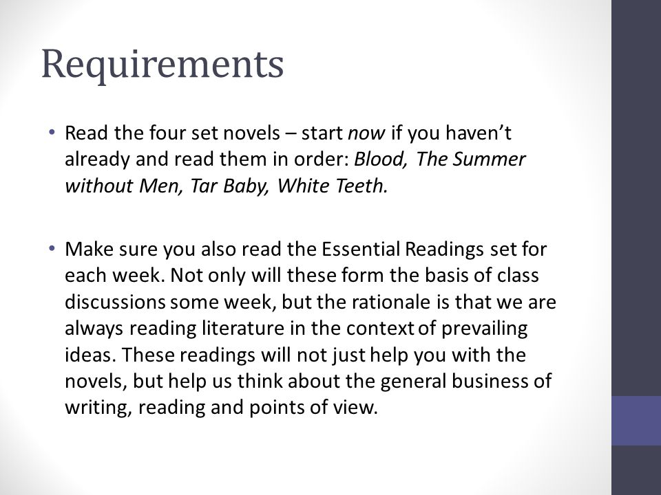 Requirements Read the four set novels – start now if you haven't already and read them in order: Blood, The Summer without Men, Tar Baby, White Teeth.