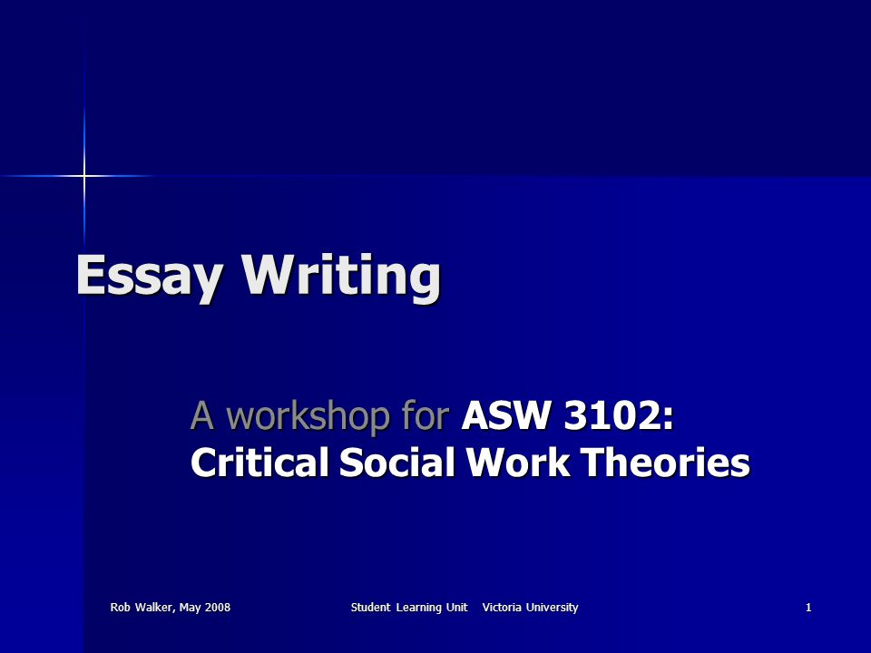Rob Walker, May 2008Student Learning Unit Victoria University1 Essay Writing A workshop for ASW 3102: Critical Social Work Theories