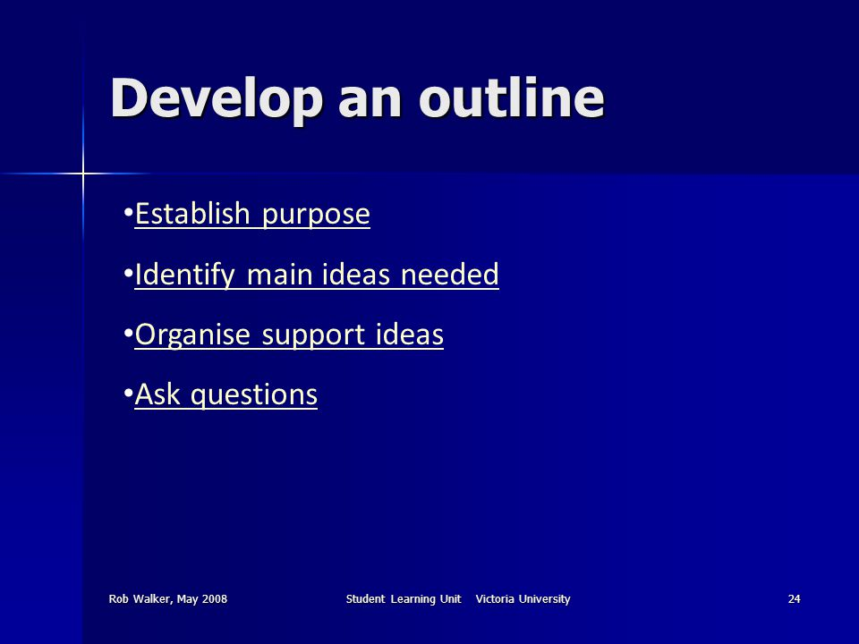 Rob Walker, May 2008Student Learning Unit Victoria University24 Develop an outline Establish purpose Identify main ideas needed Organise support ideas Ask questions