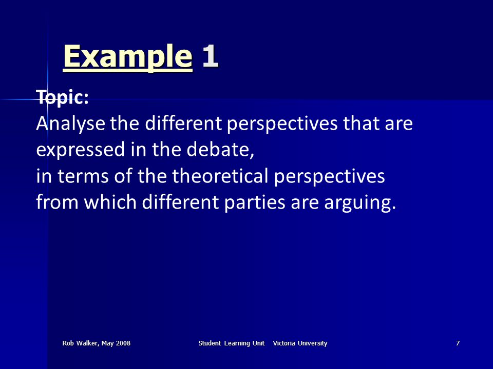 Rob Walker, May 2008Student Learning Unit Victoria University7 ExampleExample 1 Example Topic: Analyse the different perspectives that are expressed i