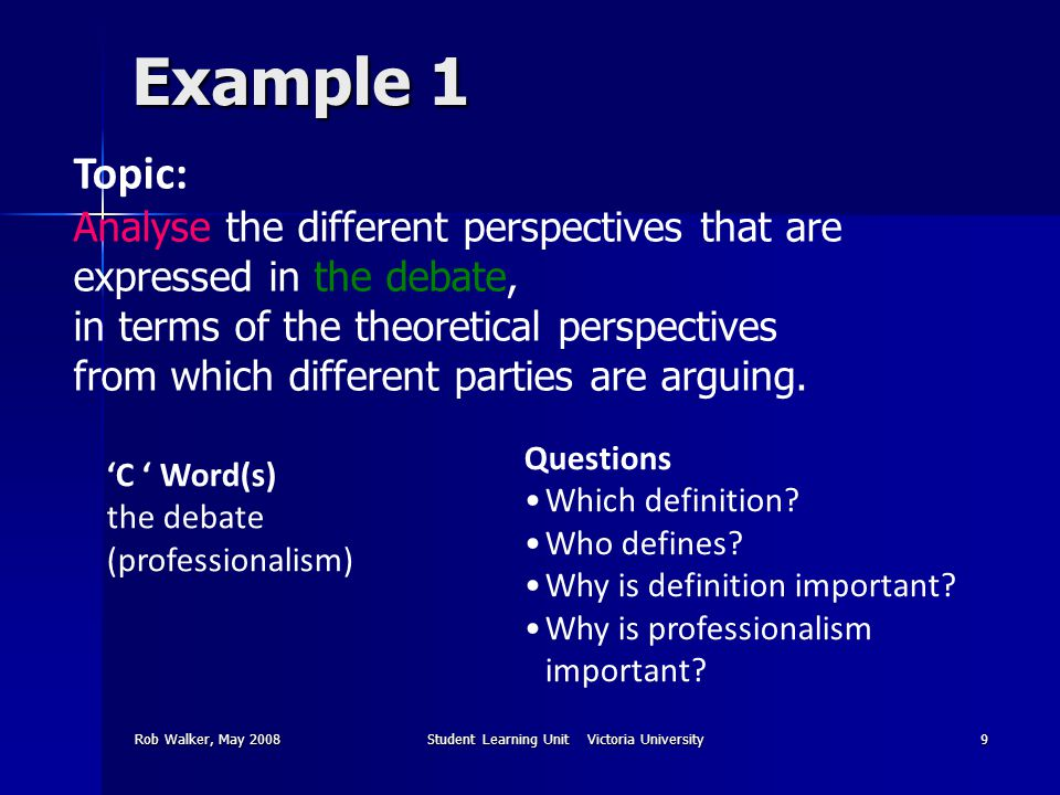 Rob Walker, May 2008Student Learning Unit Victoria University9 Example 1 Topic: Analyse the different perspectives that are expressed in the debate, in terms of the theoretical perspectives from which different parties are arguing.
