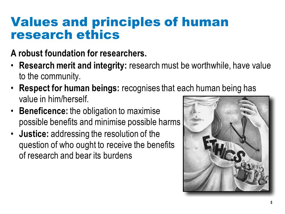 5 Values and principles of human research ethics A robust foundation for researchers.