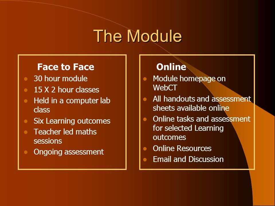 The Module Face to Face 30 hour module 15 X 2 hour classes Held in a computer lab class Six Learning outcomes Teacher led maths sessions Ongoing assessment Online Module homepage on WebCT All handouts and assessment sheets available online Online tasks and assessment for selected Learning outcomes Online Resources Email and Discussion