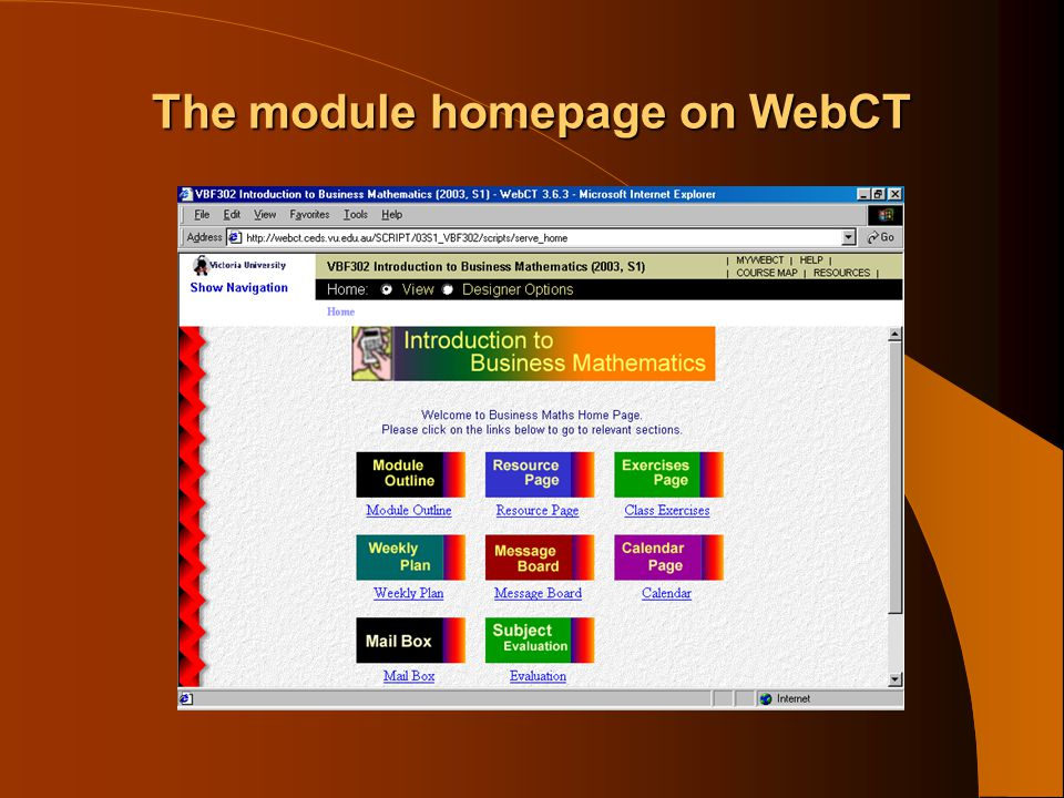 The module homepage on WebCT
