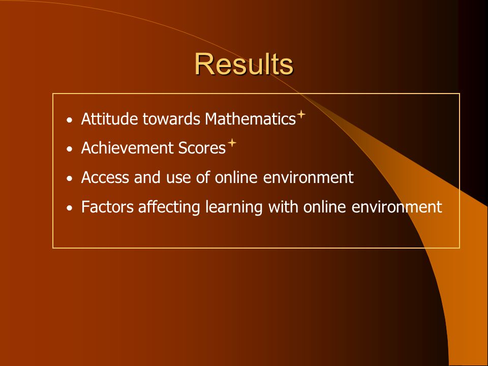 Results Attitude towards Mathematics Achievement Scores Access and use of online environment Factors affecting learning with online environment