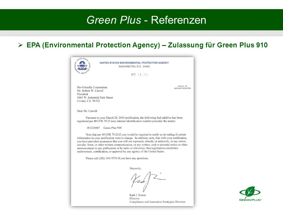 Green Plus - Referenzen  EPA (Environmental Protection Agency) – Zulassung für Green Plus 910