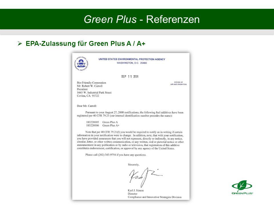 Green Plus - Referenzen  EPA-Zulassung für Green Plus A / A+
