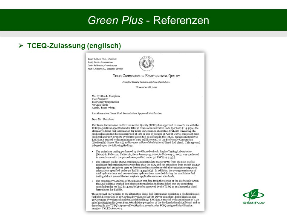 Green Plus - Referenzen  TCEQ-Zulassung (englisch)