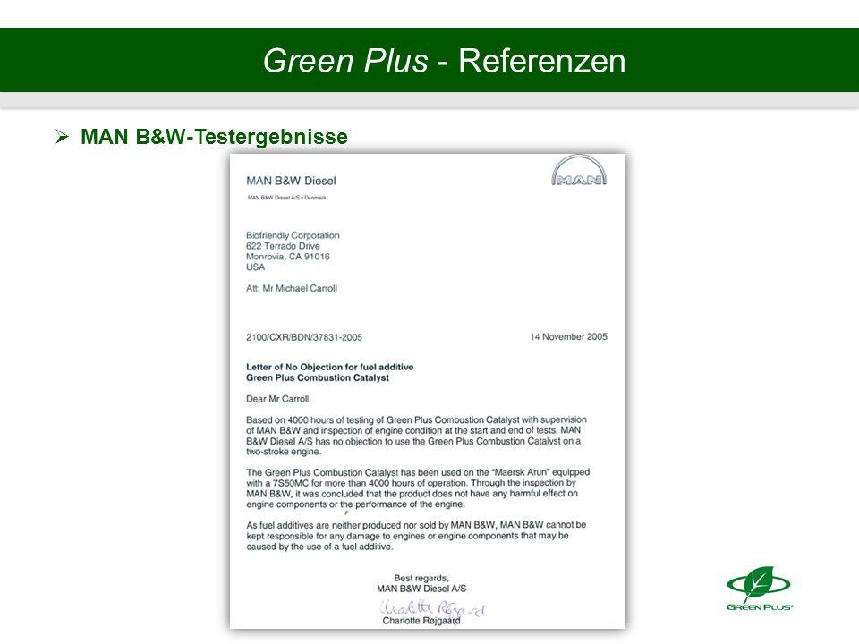 Green Plus - Referenzen  MAN B&W-Testergebnisse