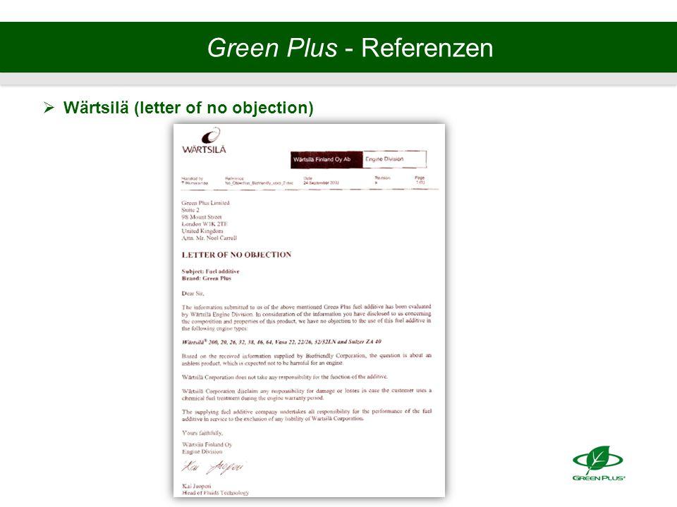 Green Plus - Referenzen  Wärtsilä (letter of no objection)