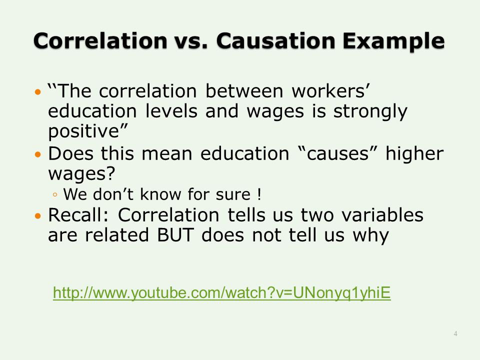 """Correlation vs. Causation Example ''The correlation between workers' education levels and wages is strongly positive"""" Does this mean education """"causes"""