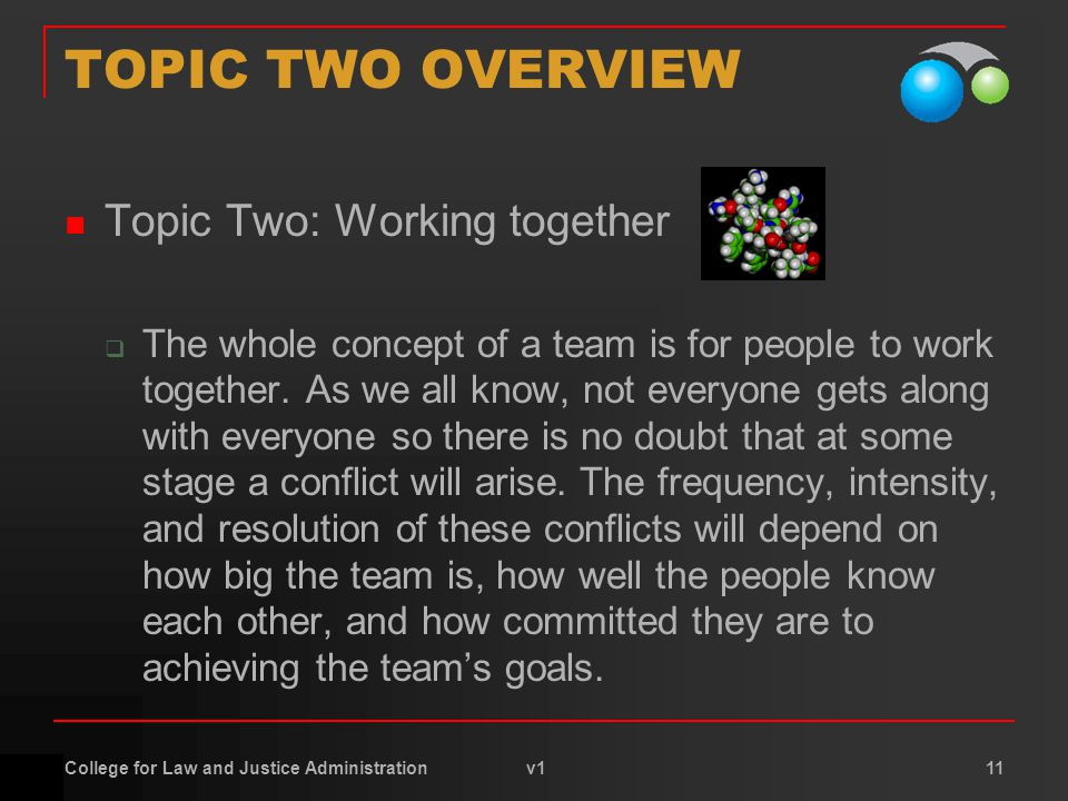 College for Law and Justice Administration v1 11 TOPIC TWO OVERVIEW Topic Two: Working together  The whole concept of a team is for people to work together.