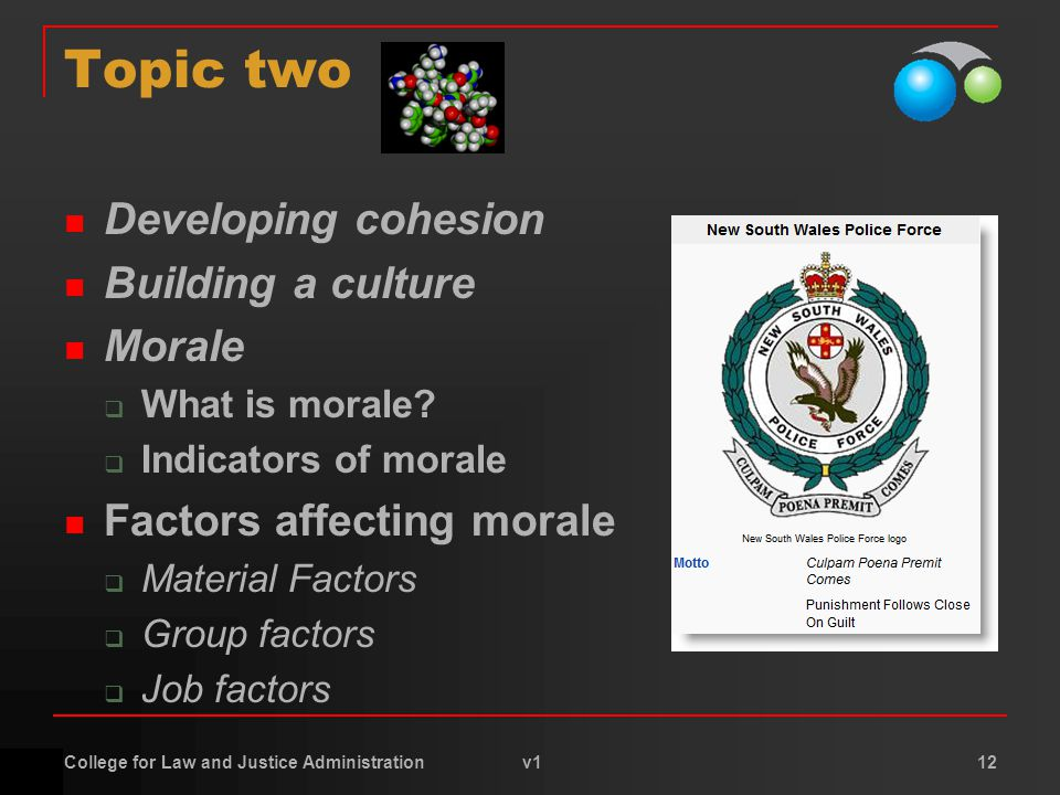 College for Law and Justice Administration v1 12 Topic two Developing cohesion Building a culture Morale  What is morale?  Indicators of morale Fact