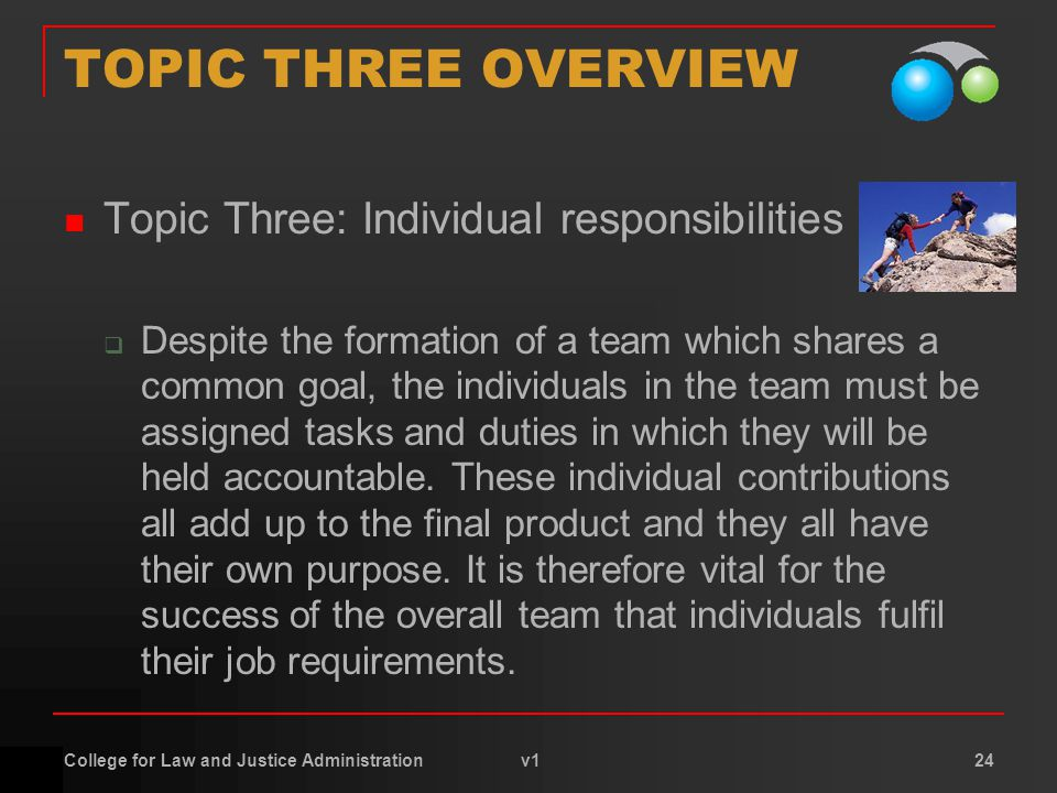 College for Law and Justice Administration v1 24 TOPIC THREE OVERVIEW Topic Three: Individual responsibilities  Despite the formation of a team which