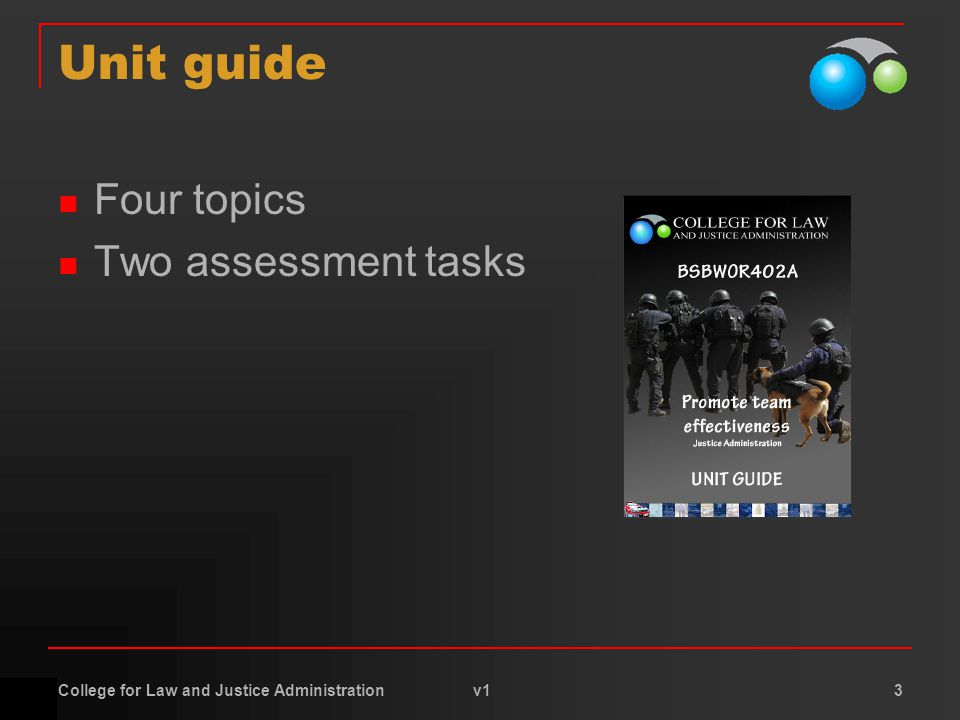 College for Law and Justice Administration v1 3 Unit guide Four topics Two assessment tasks