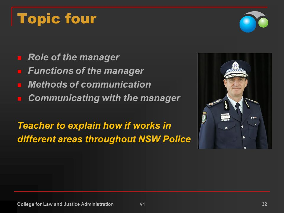 College for Law and Justice Administration v1 32 Topic four Role of the manager Functions of the manager Methods of communication Communicating with the manager Teacher to explain how if works in different areas throughout NSW Police